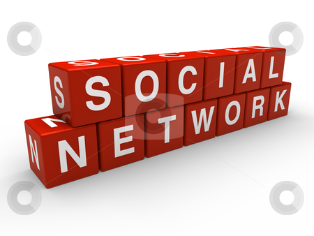 3d network social cube stock photo, 3d network social red global cube white by d3images