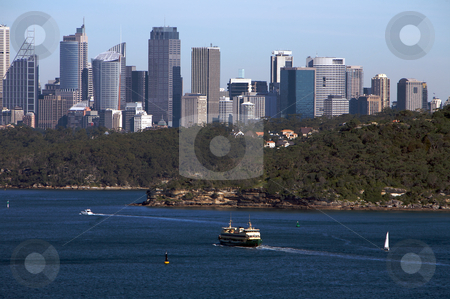 Sydney north head view with city skyline stock photo, Sydney north head view with city skyline in the background in Australia by Vividrange