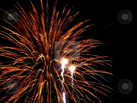 Fireworks stock photo, Fireworks background, orange bursts for a celebration by Cora Reed