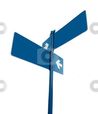 Blank white road signs white background. stock photo, Blank blue road signs in white background, clipping path. by Pablo Caridad