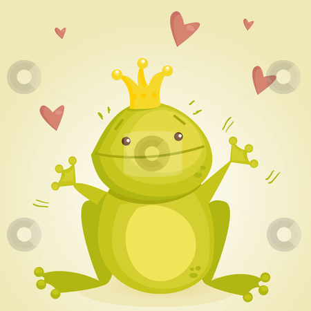 Cute cartoon frog prince stock photo, Cute cartoon frog prince, vector illustration by kariiika