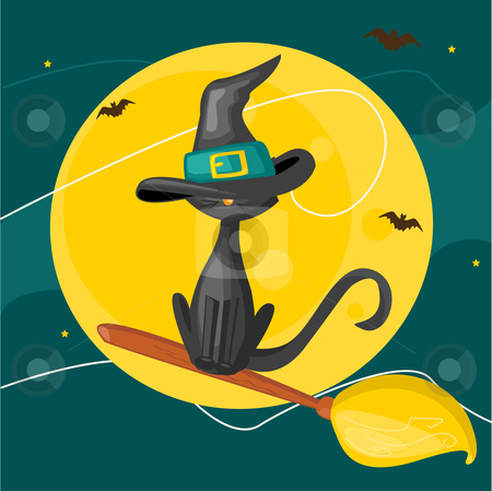 Cat on a broom stock photo, Cat on a broom, halloween background by kariiika