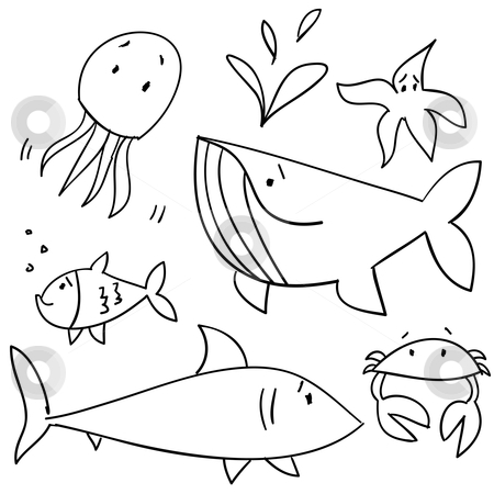 Doodle sea animals stock photo, Doodle sea animals, vector illustration by kariiika