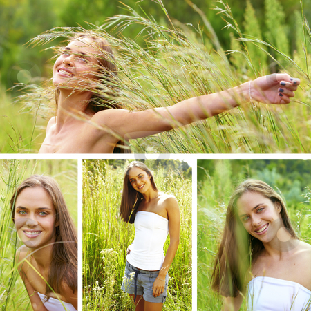 Collage of a beautiful young brunette woman . stock photo, collage of a beautiful young brunette woman in tall green grass in summer meadow . by lubavnel