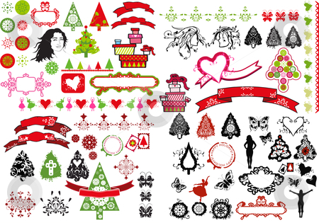 Christmas icons stock photo, festive theme design icons Christmas trees, women and snowflakes - illustration collage by lubavnel