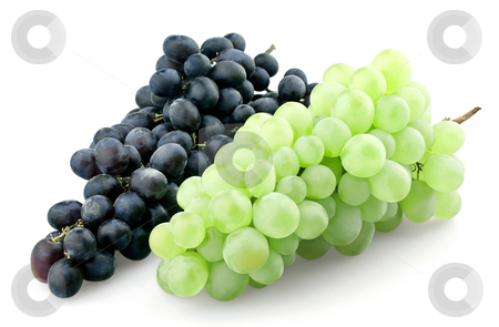Bunches of black and green grapes stock photo, Bunches of black and green grapes isolated on white background by seralex