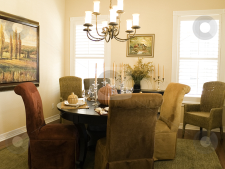 Dining room stock photo, Dining room with upolstered chairs by Cora Reed