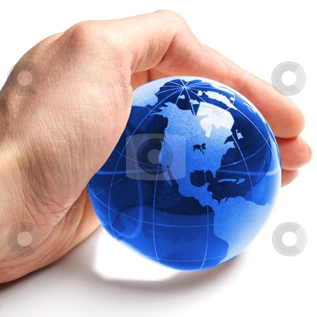 Environmental protection stock photo, environmental protection or eco concept with world in a hand on white by Gunnar Pippel