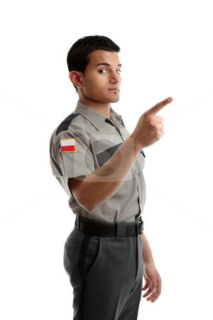 Security Haircut : Security officer or warden pointing finger stock photo, A security ...
