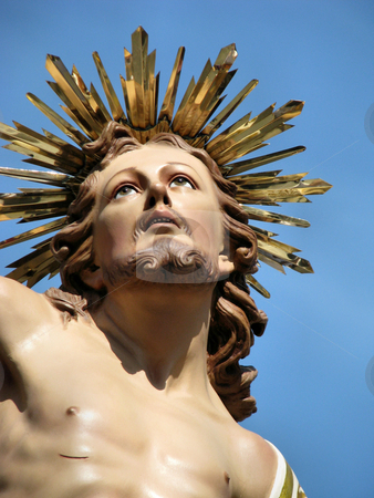 A New Begining stock photo, A close up shot of the statue of 'The Risen Christ' which was taken during the Easter procession in Zejtun, Malta.  by fajjenzu
