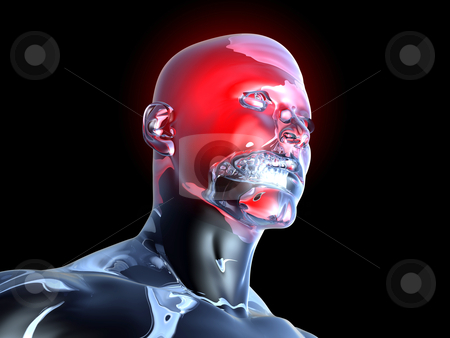 Headache - Anatomy  stock photo, Medical Illustration. 3D rendered Illustration. Isolated on black. by Michael Osterrieder