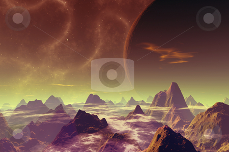 Dead World stock photo, 3D rendered image. Scifi scenery.  by Michael Osterrieder