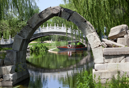 Canqiao Ruined Bridge Yuanming Yuan Old Summer Palace Willows Be stock photo, Canqiao Ruined Bridge Yuanming Yuan Old Summer Palace Willows Beijing China  Last existing bridge in the Old Summer Palace, which was destroyed in 1860 Second Opium War  by William Perry