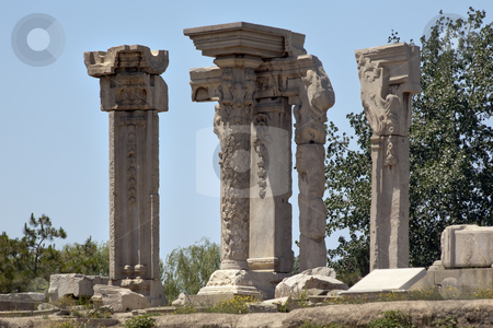 Ancient Ruins Pillars Old Summer Palace Yuanming Yuan Old Beijin stock photo, Ancient Ruins Pillars Old Summer Palace Yuanming Yuan Beijing China  Old Summer Palace was destroyed by British and French Army in 1860 Second Opium War  by William Perry
