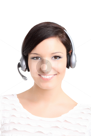 Young beautiful women with headset stock photo,  by azmo31