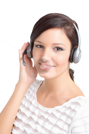 Smiling support technician with a headset stock photo,  by azmo31