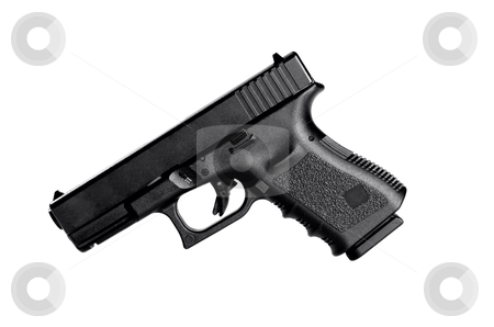 40 Caliber Hangun stock photo, Image of a 40 caliber handgun on a white background by Greg Blomberg