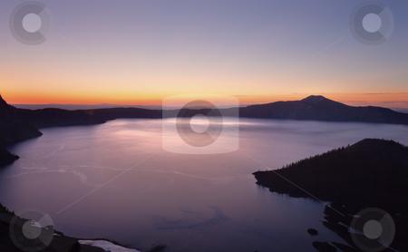 Crater Lake Wizard Island Sunrise Oregon stock photo, Crater Lake Wizard Island Sunrise Oregon Pacific Northwest by William Perry