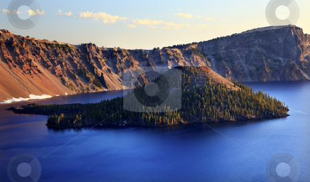 Wizard Island Crater Lake Oregon stock photo, Wizard Island Crater Lake National Park Oregon Pacific Northwest by William Perry
