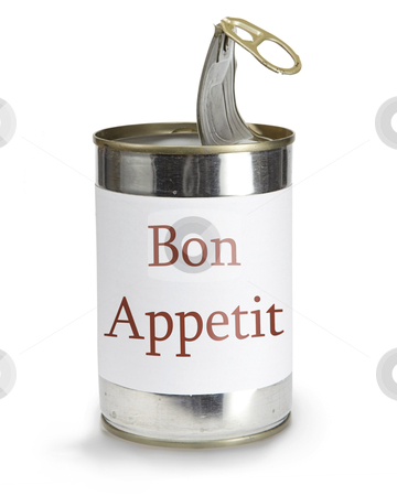 Bon appetit stock photo, can with bon appetit label on a white background by sielemann