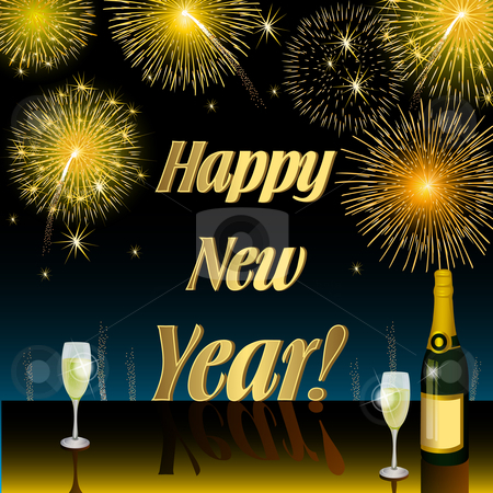 Happy New Year stock photo, Illustration Happy New Year by Ilenia Pagliarini