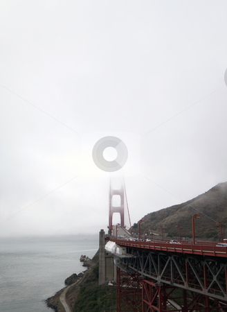 Golden Gate Bridge stock photo, A view of the Golden Gate Bridge on a foggy morning by Kevin Tietz