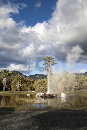 Geyser stock photo, A natural geyser shooting water out of the ground and into the air by Kevin Tietz