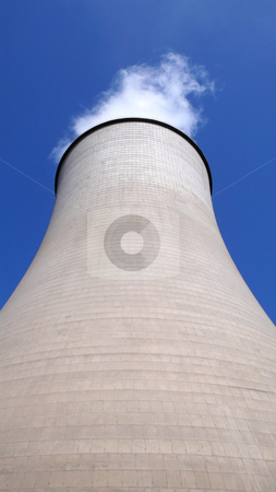 Heat power plant stock photo, View of the huge water tower in a heat power plant by John Young