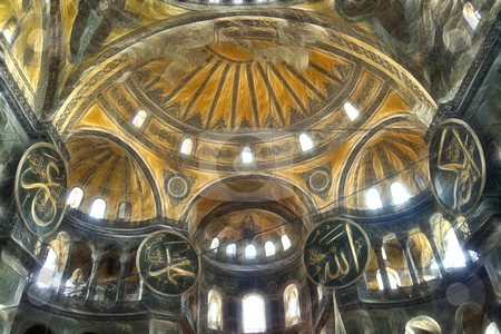 Hagia Sophia interior stock photo, Interior of the dome of Hagia Sophia with  circular-framed disks on columns  inscribed with the names of Allah, the Prophet Muhammad, the first four caliphs Abu Bakr, Umar, Uthman and Ali, and the two grandchildren of Mohammed: Hassan and Hussain by mato020