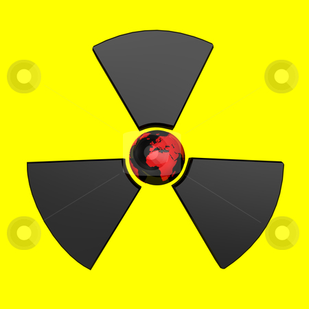 Radioactive Earth stock photo, Radioactive symbol with earth, isolated on yellow background. by Alexander Limbach