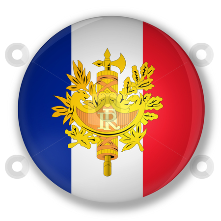 Badge with flag of france stock photo, Illustration of a badge with flag and the royal coat of france with shadow by marphotography