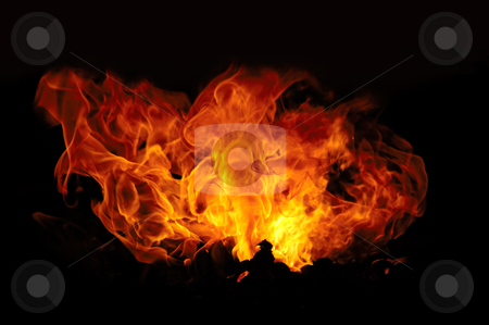 Fire stock photo, Fire isolated on a black background. by Lars Christensen
