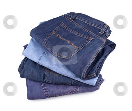 Jeans stock photo, Stack of jeans isolated on white background. by Edvard Molnar
