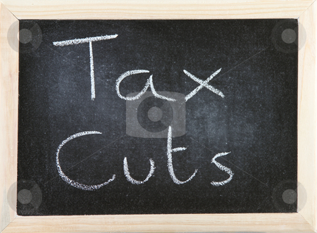 Board with Tax Cuts. stock photo, Black chalk board with wooden framed surround with the words Tax Cuts. by richsouthwales