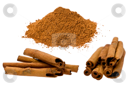 Cassia Cinnamon (Cinnamomum aromaticum) stock photo, Composite of several sticks, and a small pile of ground cassia cinnamon, or chinese cinnamon. by Glenn Price