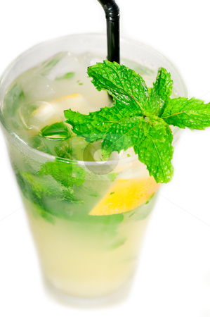 Mojito caipirina cocktail with fresh mint leaves stock photo, mojito caipirina cocktail with fresh mint leaves ,yerba-buena, with lime and black straw isolated on white background by Francesco Perre