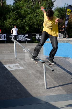 Nuno Cardoso stock photo, ILHAVO, PORTUGAL - SEPTEMBER 03: Nuno Cardoso during the 2nd Stage of the DC Skate Challenge on September 03, 2011 in Ilhavo, Portugal. in Ilhavo, Portugal. by Homydesign