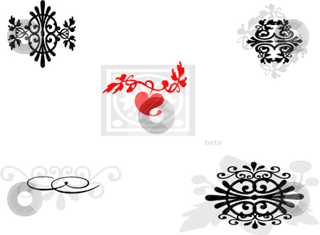 Motifs and inkblots stock vector clipart, Ornamental vector motifs and inkblots by Michelle Bergkamp