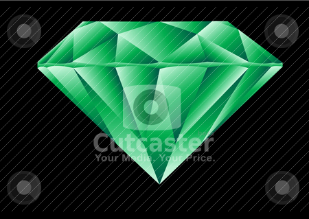 Diamond Cut Emerald Illustration stock vector clipart, Diamond Cut Emerald Vector Illustration by John Teeter