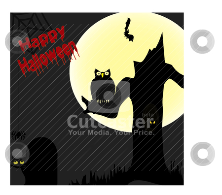 Happy Halloween Scene stock vector clipart, Halloween scene with lots of Characters and spooky things by Michelle Bergkamp