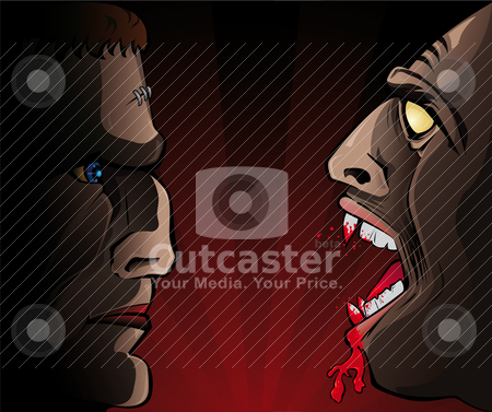 Frankenstein versus Vampire stock vector clipart, Vector illustration of halloween characters by Paulo Resende