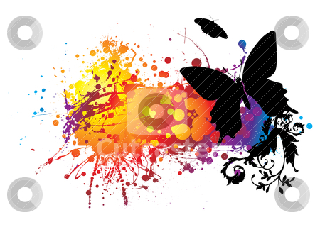Black butterfly stock vector clipart, Colourful abstract background with planty of room to add text by Michael Travers