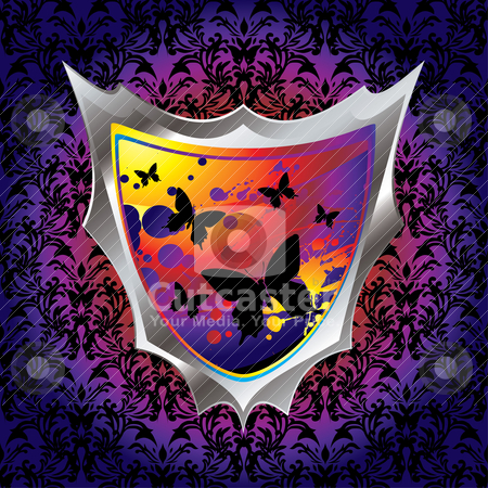 Gourdy shield stock vector clipart, Brightly coloured shield with butterfly and ink splats by Michael Travers