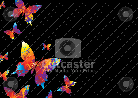 Bright butterfly stock vector clipart, Colourful collection of butterflys on a black background by Michael Travers