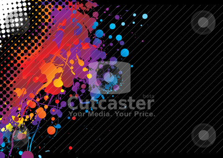 Halftone paint chuck stock vector clipart, Brightly coloured abstract painted background with copy space by Michael Travers