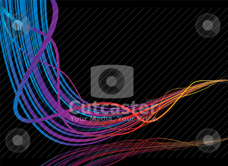 Rainbow streak stock vector clipart, Futuristic background with flowing lines and room for text by Michael Travers