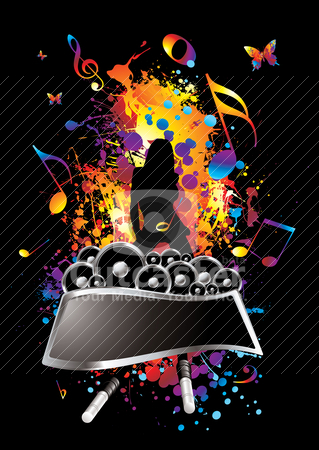 Musical splat stock vector clipart, Musical inspired background image with room to add text by Michael Travers
