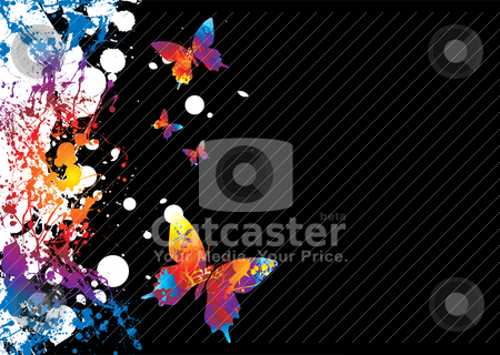Butterfly border stock vector clipart, Background with a difference in bright colours and copyspace by Michael Travers