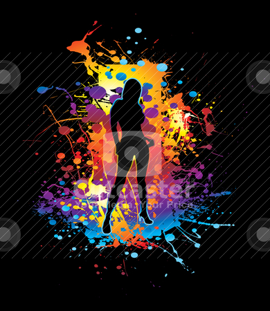 Painted femal stock vector clipart, Sexy female silhouette on a ink splat background by Michael Travers