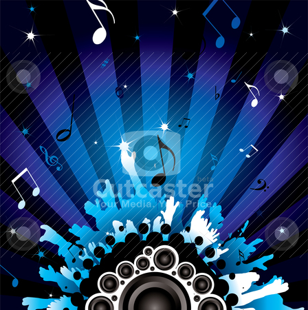 Disco crowd stock vector clipart, Modern background with a disco theme with speakers by Michael Travers